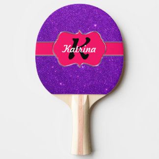 Neon Pink Monogram on Purple Glitter Ping Pong Paddle