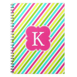 Neon Pink Monogram Stripes Notebook