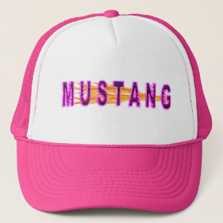 Neon Pink Mustang And Flames Trucker Hat