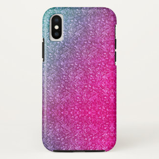 Neon Pink Muted Blue Floral Bright Colorful Case-Mate iPhone Case