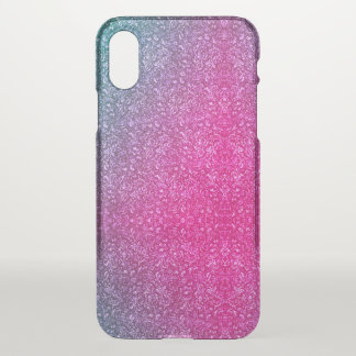 Neon Pink Muted Blue Floral Bright Colorful iPhone X Case