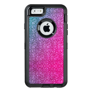 Neon Pink Muted Blue Floral Bright Colorful OtterBox Defender iPhone Case