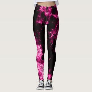 Neon Pink Rave Star Leggings