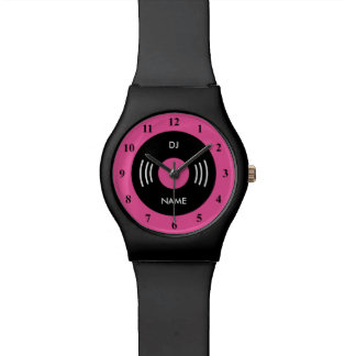 Neon pink retro watch with vinyl music record dial