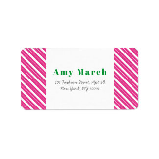 Neon Pink Stripes Trendy Address Label