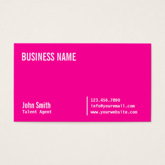 Neon Pink Talent Agent Business Card