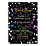 """Neon Pink Turquoise Polka Dots Bridal Shower 3.5"""" X 5"""" Invitation Card"""