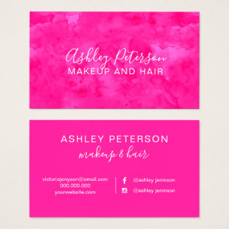 Neon Pink watercolor hair makeup typography Business Card