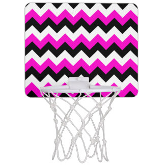 Neon Pink White and Black Zigzag Mini Basketball Hoop