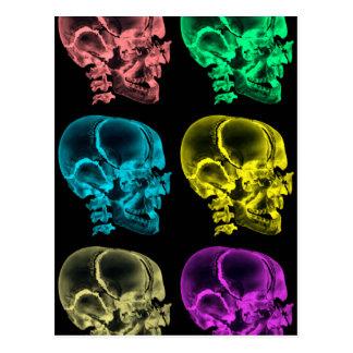 Neon Pop Art Skulls Postcard