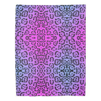 Neon Purple Cheetah Cat Animal Print Duvet Cover