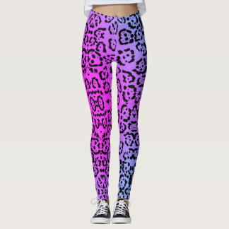 Neon Purple Cheetah Cat Animal Print Leggings