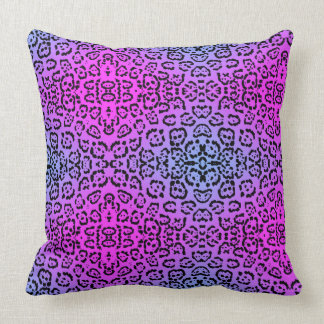 Neon Purple Cheetah Cat Animal Print Throw Pillow