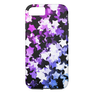 Neon Purple Kawaii Stars Shibuya Night iPhone 7 Case