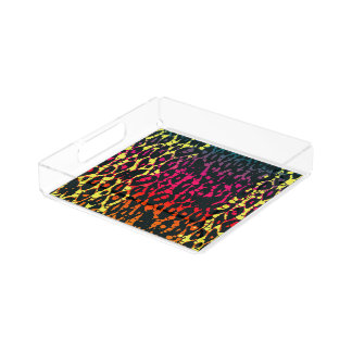 Neon Rainbow Animal Print Serving Tray