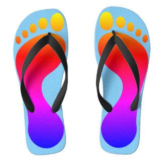 Neon Rainbow Footprint Beach Pool Flip Flops