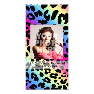 Neon Rainbow Leopard Pattern Print Photo Card Template