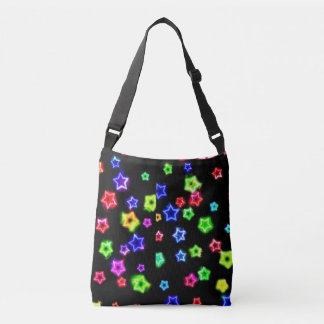 Neon Rainbow Stars Cross- Body Bag