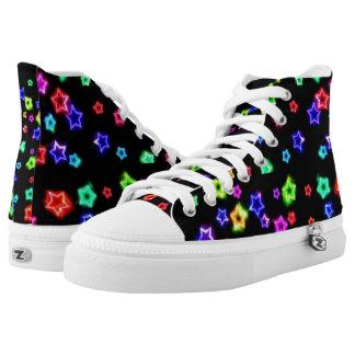Neon Rainbow Stars Hi tops