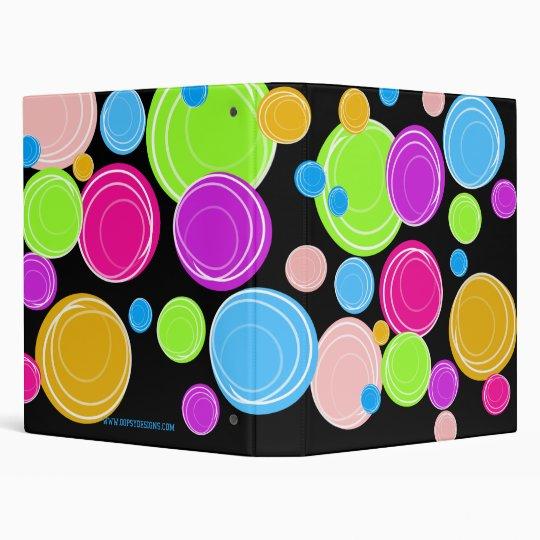 Neon Rainbow Swirl Circles Custom Binder