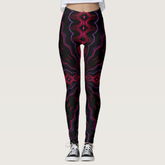 Neon Rave Laser Love Heart Leggings