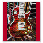 Neon Red Electric Guitar Poster