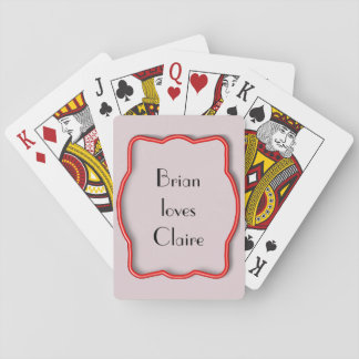 Neon Red Frame Playing Cards