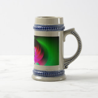 Neon Red Green Abstract 18 Oz Beer Stein