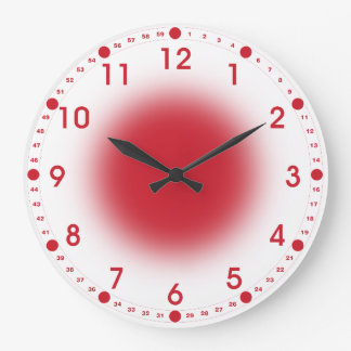 Neon Red on White Large Clock