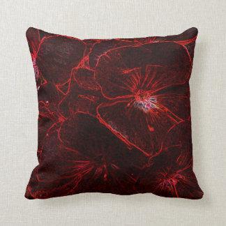 Neon Red Pansies Throw Pillow