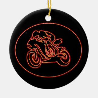 Neon Red Racing Motorcycle Silhouette Ceramic Ornament