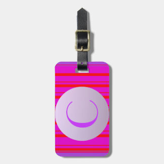 neon red stripes in purple with custom monogram luggage tag