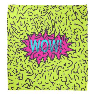 Neon Retro 80's 90's Scribbled Wow! Typography Bandana