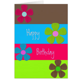 Neon Retro Happy Birthday Card