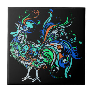 Neon Rooster Tile