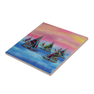 Neon Sailboats in the Sun Ceramic Tile