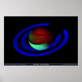 Neon Saturn Poster