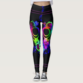 Neon Scull Abstract Black Leggings