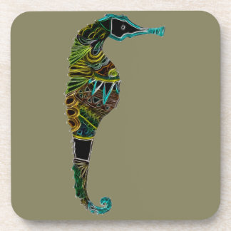 Neon Seahorse Coaster