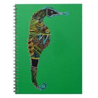 Neon Seahorse Notebook