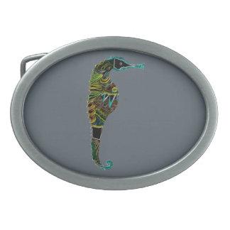 Neon Seahorse Oval Belt Buckle
