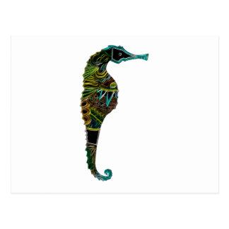 Neon Seahorse Postcard