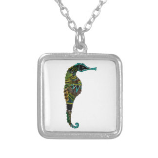Neon Seahorse Silver Plated Necklace