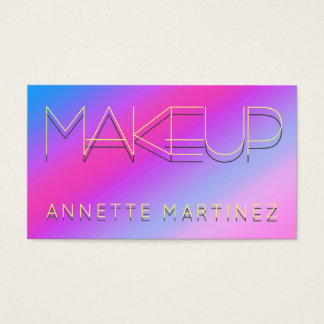 Neon shaded text on violet shiny surface business card