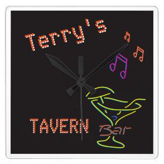 Neon Sign Personalized Mancave Tavern Club Clocks