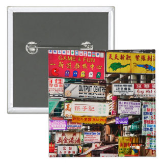 Neon signs in the streets of Hong Kong 2 Inch Square Button