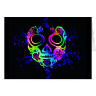 Neon skull face greeting card