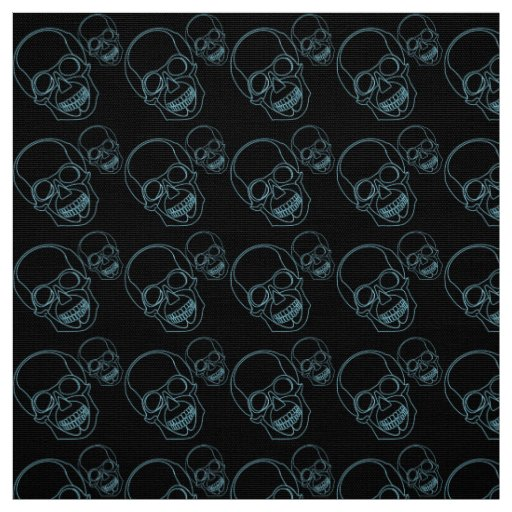 Neon skull on black background fabric