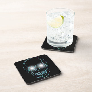 Neon skull with shining eyes design beverage coaster