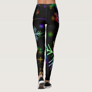 Neon snowflakes pattern leggings